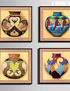 e-Home® enmarcado arte de la lona, el color del conjunto de impresión de lona tanque de cerveza enmarcada de 4