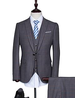 חליפות גזרה רגילה פתוח Single Breasted One-button תערובת כותנה משובץ\גינגהם 3 חלקים כחול כהה