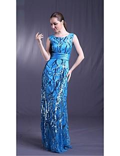 Fiesta formal Vestido - Azul cielo Corte Recto Hasta el Suelo - Escote Joya Tul / Satén Elástico / Con lentejuelas