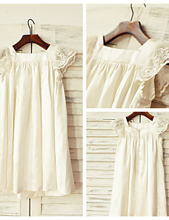 Sheath / Column Knee-length Flower Girl Dress - Stretch Satin Short Sleeve Square with