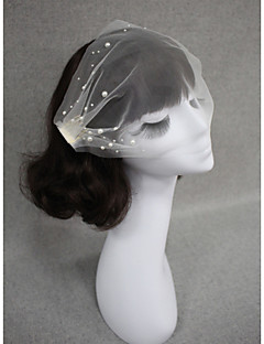 Wedding Veil One-tier Blusher Veils Cut Edge Two Sides Combs