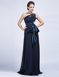 Sheath / Column Mother of the Bride Dress Floor-length Chiffon / Tulle withAppliques / Beading / Bow(s) / Crystal Detailing / Sash /