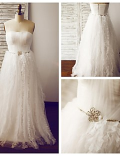 A-line Wedding Dress - Ivory Floor-length Strapless Tulle