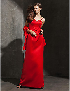 TS Couture® Formal Evening Dress Plus Size / Petite Sheath / Column Spaghetti Straps Floor-length Satin with Beading