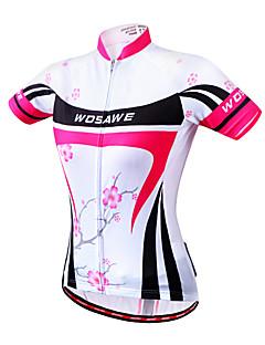 Wosawe® 싸이클 져지 여성의 짧은 소매 자전거 통기성 / 빠른 드라이 / 방풍 / 인체 해부학적 디자인 / 빛반사 스트립 / 공전방지 져지 / 탑스 100% 폴리에스터 꽃 / 식물 여름캠핑 & 하이킹 / 피싱 / 운동&피트니스 / 레저
