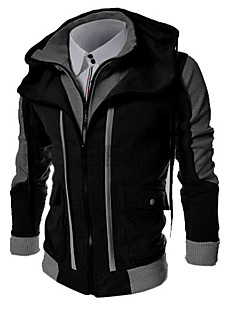 Men's Striped / Solid Casual / Formal / Sport / Plus Size Hoodie,Cotton Blend Long Sleeve Black / Gray