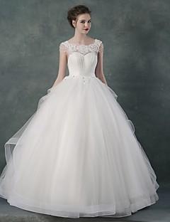 Ball Gown Wedding Dress - White Floor-length Bateau Organza / Satin