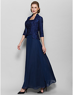 Lanting Bride Ankle-length Chiffon Bridesmaid Dress Sheath / Column Square with Pattern / Print