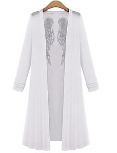Vrouwen Eenvoudig Herfst Overhemd,Casual/Dagelijks Effen Overhemdkraag Lange mouw Wit / Zwart Katoen Medium