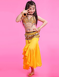 Belly Dance Outfits Children's Performance Chiffon Gold Coins 3 Pieces Fuchsia / Red / Yellow Belly Dance Spring, Fall, Winter, Summer
