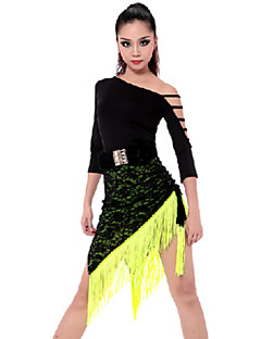 Latin Dance Outfits Women's Performance Rayon / Polyester Tassel(s) 2 Pieces Pink / Yellow Latin Dance / SambaSpring, Fall, Winter,