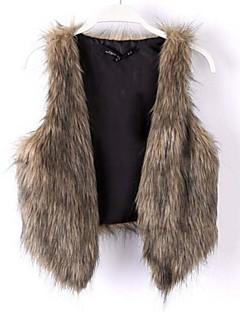 Women Faux Fur Outerwear , Lined