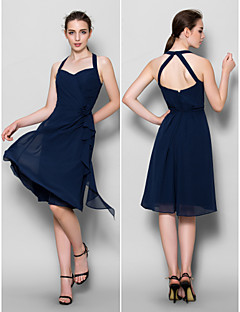 Lanting Knee-length Chiffon Bridesmaid Dress - Dark Navy A-line Halter