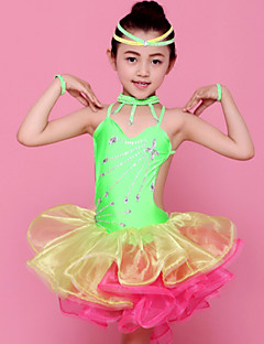 Latin Dance Outfits Children's Performance Spandex / Polyester Ruffles 4 Pieces Fuchsia / Green / Yellow Latin DanceSpring, Fall, Winter,