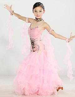 ריקודים סלוניים תלבושות בגדי ריקוד ילדים ביצועים שיפון / ניילון / ספנדקס / פוליאסטר קריסטלים / rhinestones / עטוף / רקמה 6 חלקיםבלי