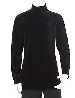 Latin Dance Tops Men's Training Velvet Draped 1 Piece Black Latin Dance Long Sleeve Top