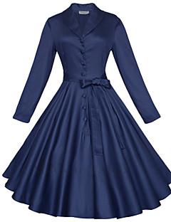婦人向け ショールラペル フロントクロス ドレス , コットン 膝丈 七部袖