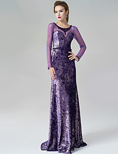 Formal Evening Dress - Lilac A-line Scoop Sweep/Brush Train Velvet