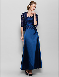 Lanting Sheath/Column Mother of the Bride Dress - Dark Navy Ankle-length 3/4 Length Sleeve Charmeuse