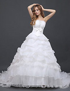 Ball Gown Wedding Dress Chapel Train Strapless Tulle with Bow / Lace / Ruffle