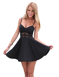 Women's Holiday Dress,Solid Strap Mini Sleeveless Black Cotton Summer Micro-elastic Medium