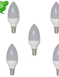 8W E14 LED-stearinlyspærer C35 15 SMD 3022 800 lm Varm hvid Dekorativ AC 85-265 V 5 stk.