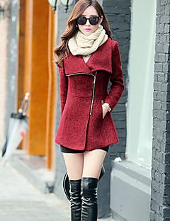 אחיד מעיל נשים,אדום / אפור שרוול ארוך חורף עבה צמר / אחרים