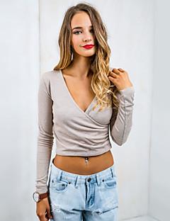 Enfärgad Långärmad T-shirt Kvinnors Djup V-hals Stickad