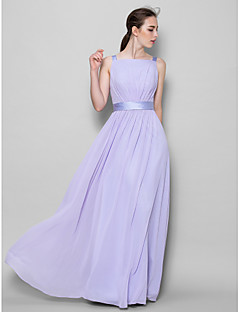 Lanting Floor-length Chiffon Bridesmaid Dress - Lavender A-line Straps
