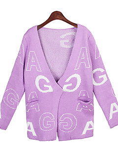 Women's Print Blue / Pink / Black  Sweaters , Casual V-Neck Long Sleeve