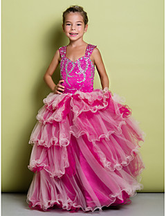A-line Floor-length Flower Girl Dress - Organza / Satin Sleeveless Straps with Beading / Tiers