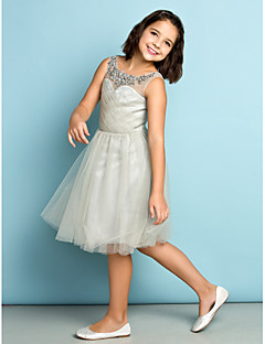 Lanting Bride® Knee-length Tulle Junior Bridesmaid Dress - Mini Me A-line Scoop with Crystal Detailing / Criss Cross