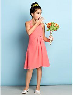 Knie-Lengte Doek Junior bruidsmeisjesjurk - Watermeloen A-Lijn Halster