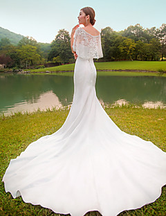 Trumpet/Mermaid Wedding Dress-Chapel Train Bateau Lace / Taffeta / Stretch Satin