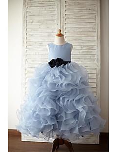 Детское праздничное платье - Бальное платье Длина до пола Без рукавов Органза / Атлас