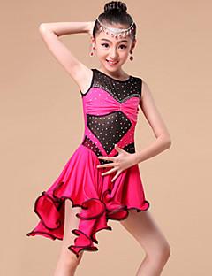 ריקוד לטיני שמלות וחצאיות בגדי ריקוד ילדים ביצועים / אימון מילק פייבר קריסטלים / rhinestones / קפלים חלק 1 בלי שרוולים שמלותS:68cm /