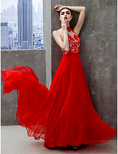 TS Couture Prom Formal Evening Dress - Beautiful Back A-line High Neck Floor-length Chiffon with Appliques