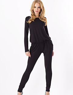 Women's Solid Blue / Black / Brown / Beige Jumpsuits , Casual Round Neck Long Sleeve