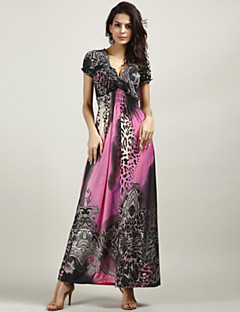 Women's Sexy Beach Casual Party Work Plus Size Short Sleeve Leopard Print Evening Maxi Dress