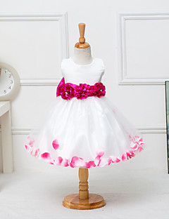 A-line Knee-length Flower Girl Dress - Satin / Tulle Sleeveless Jewel with