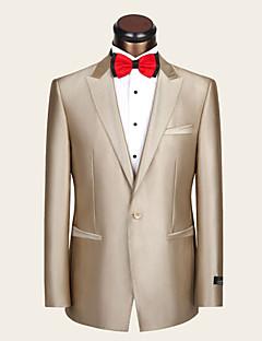 חליפות גזרה צרה פתוח Single Breasted One-button צמר / ויסקוזה פסים שני חלקים שמפניה כיס ישר ללא (חלק קדמי שטוח) צהוב ללא (חלק קדמי שטוח)