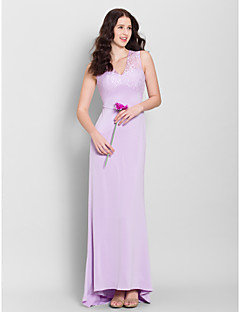 Lanting Bride® Sweep / Brush Train Lace / Jersey Bridesmaid Dress - Sheath / Column V-neck with Lace