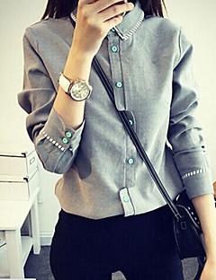 Women's Solid White / Gray Shirt , Shirt Collar Long Sleeve