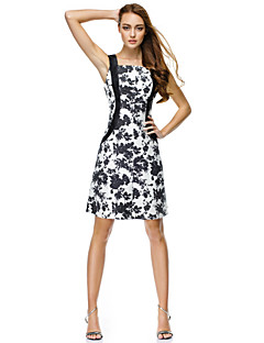TS Couture Cocktail Party Dress - Print A-line Straps Knee-length Polyester