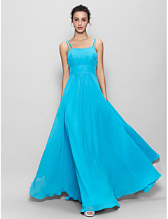 LAN TING BRIDE Floor-length Chiffon Bridesmaid Dress - A-line Spaghetti Straps with Draping