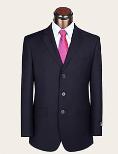 Men's Single Breasted Three-buttons Bridegroom Groomsmen Formal Wool 2 Pieces Dark Blue Suits Standard