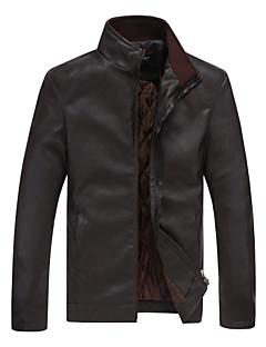 2015 Korean new men's leather jacket collar stitching slim size leisure motorcycle jacket jacket tide