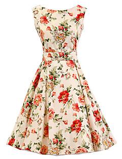 Linia A Sukienka Damskie Impreza/Przyjęcie Vintage Kwiaty,Okrągły dekolt Do kolan Bez rękawów Beżowy Bawełna Na każdy sezon