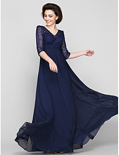 Lanting A-line Mother of the Bride Dress - Dark Navy Ankle-length Half Sleeve Chiffon / Lace
