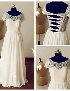 웨딩 드레스 - 아이보리(색상은 모니터에 따라 다를 수 있음) A 라인 바닥 길이 스쿱 쉬폰 / 레이스